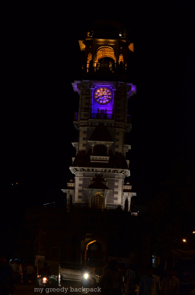 vibrant clock tower in Night