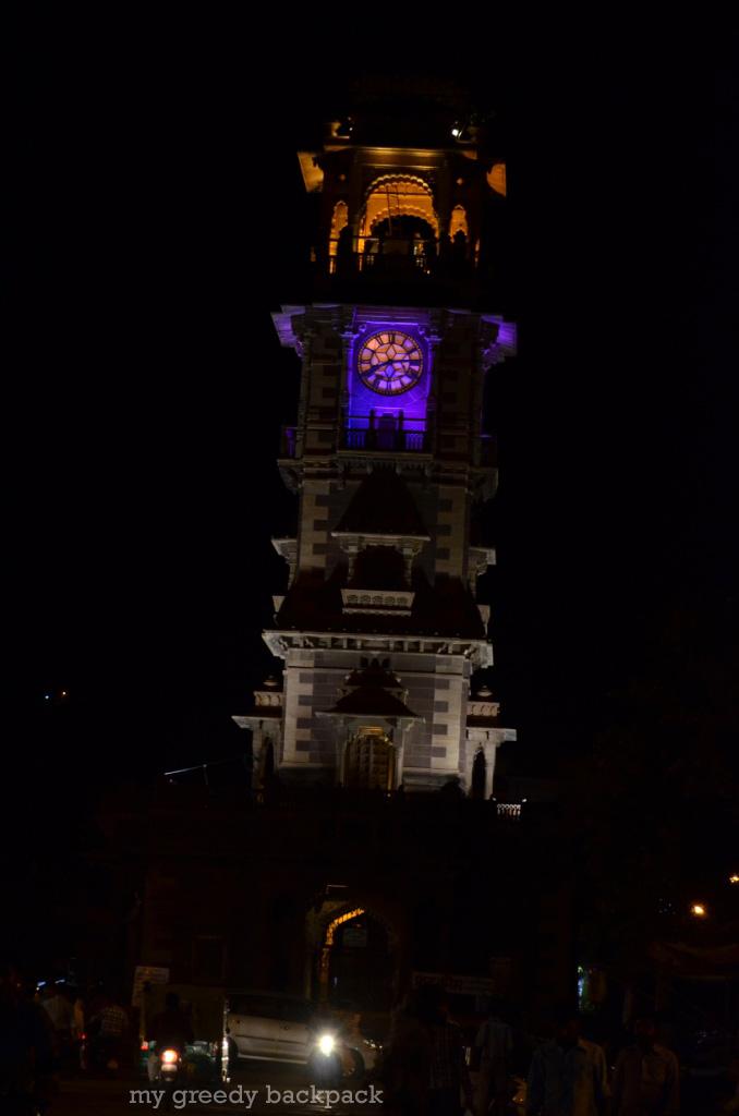 vibrant clock tower in Night
